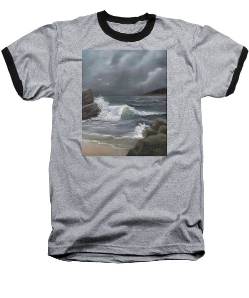 Stormy Waters Baseball T-Shirt by Sheri Keith