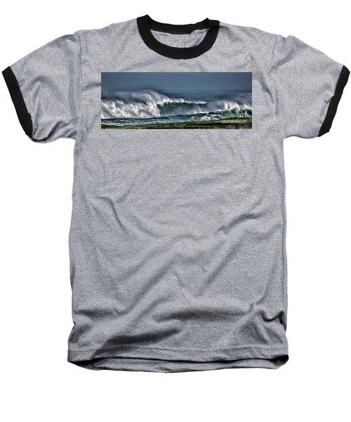 Stormy Winter Waves Baseball T-Shirt by Shirley Mangini