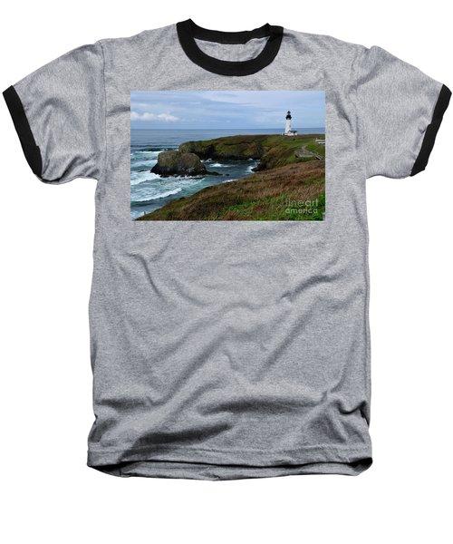 Stormy Yaquina Head Lighthouse Baseball T-Shirt