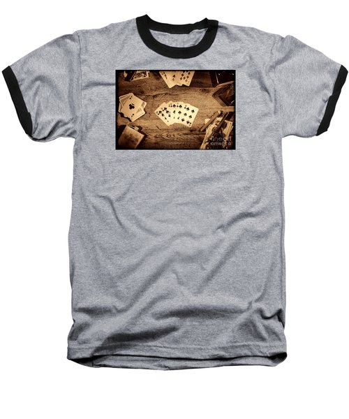 Straight Flush Baseball T-Shirt by American West Legend By Olivier Le Queinec