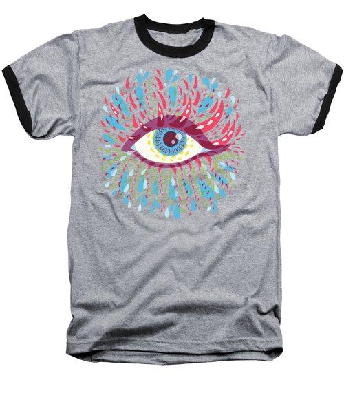 Strange Blue Psychedelic Eye Baseball T-Shirt by Boriana Giormova