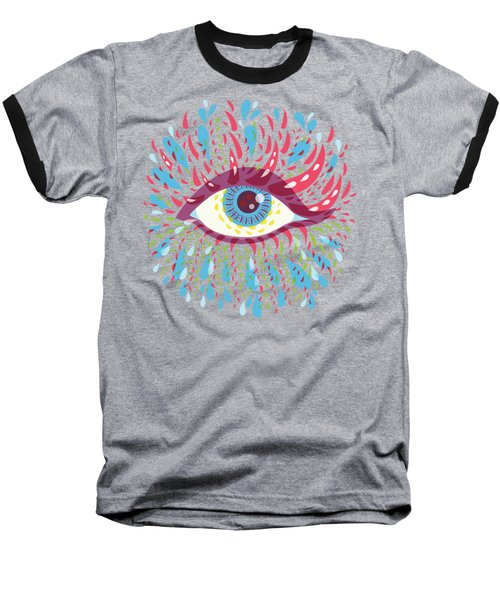Strange Blue Psychedelic Eye Baseball T-Shirt