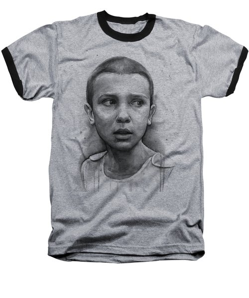Stranger Things Eleven Upside Down Art Portrait Baseball T-Shirt