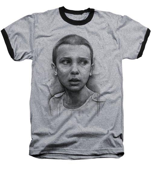 Stranger Things Eleven Upside Down Art Portrait Baseball T-Shirt