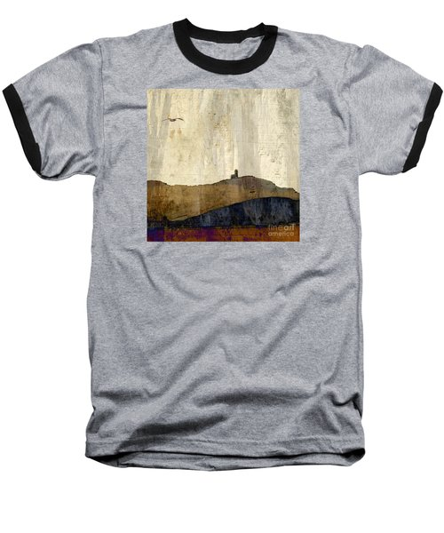 Strata With Lighthouse And Gull Baseball T-Shirt by LemonArt Photography