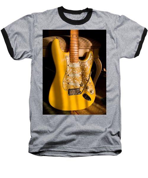 Baseball T-Shirt featuring the digital art Stratocaster Plus In Graffiti Yellow by Guitar Wacky