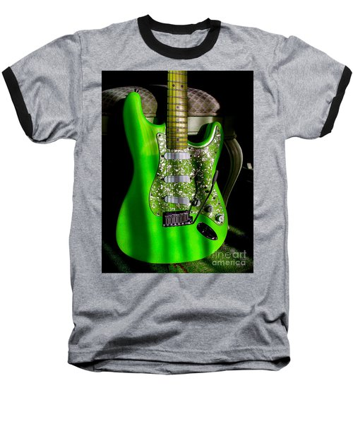 Baseball T-Shirt featuring the photograph Stratocaster Plus In Green by Guitar Wacky