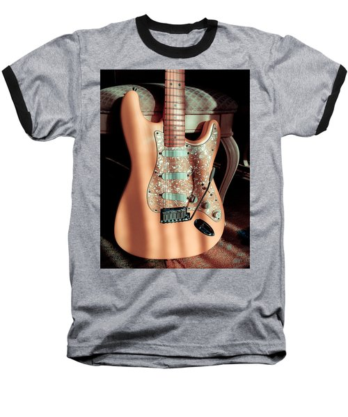Baseball T-Shirt featuring the digital art Stratocaster Plus In Shell Pink by Guitar Wacky