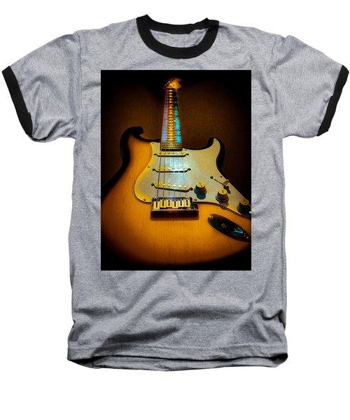 Baseball T-Shirt featuring the digital art Stratocaster Tobacco Burst Glow Neck Series  by Guitar Wacky