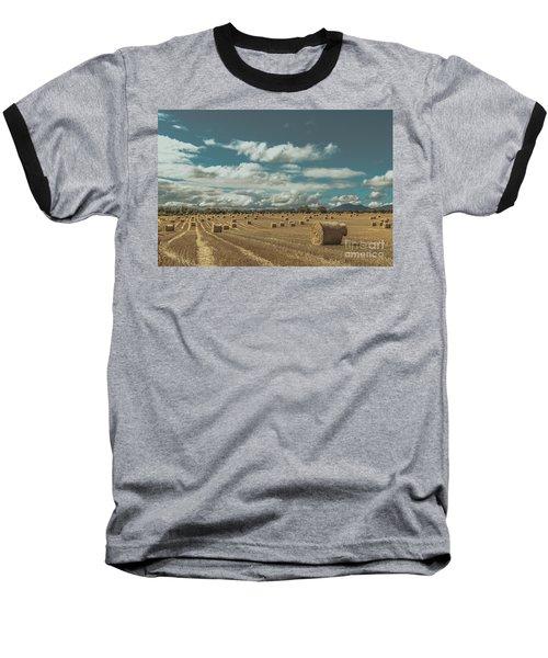 Straw Bales In A Field 3 Baseball T-Shirt