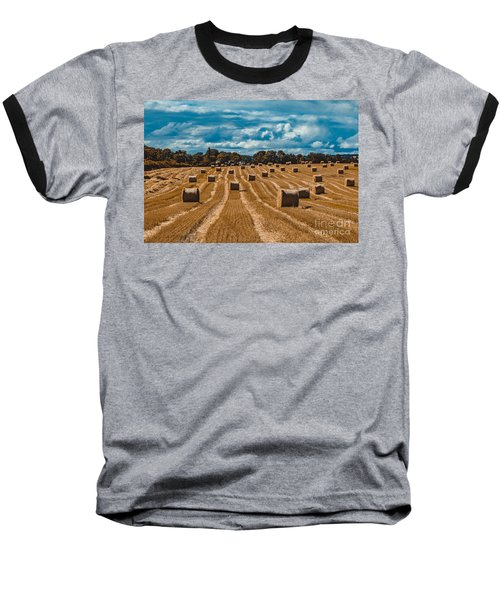 Straw Bales In A Field Baseball T-Shirt