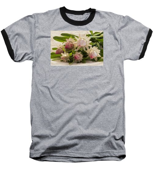 Straw Flowers And Lace Baseball T-Shirt by Sandra Foster