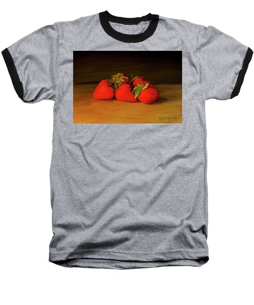 Strawberries 01 Baseball T-Shirt by Wally Hampton