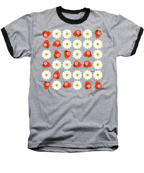 Strawberries And Daisies Baseball T-Shirt