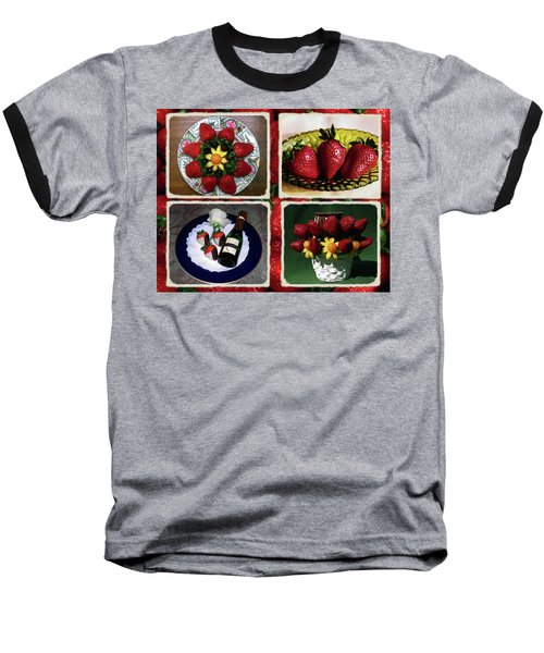Strawberry Collage Baseball T-Shirt by Sally Weigand