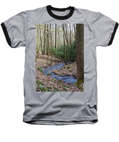Stream In The Winter Woods Baseball T-Shirt