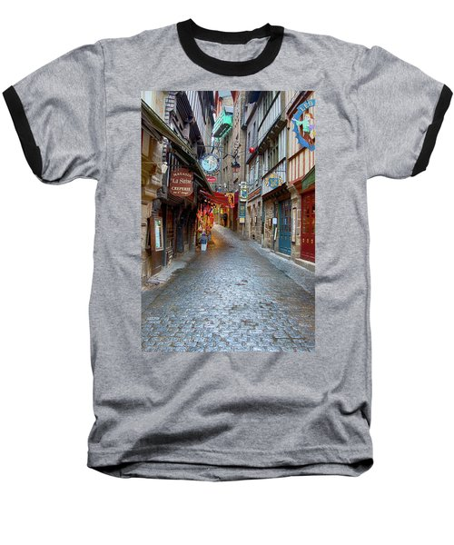 Street Le Mont Saint Michel Baseball T-Shirt by Hugh Smith
