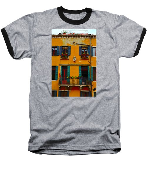 Street Scene Venice Baseball T-Shirt by Richard Ortolano