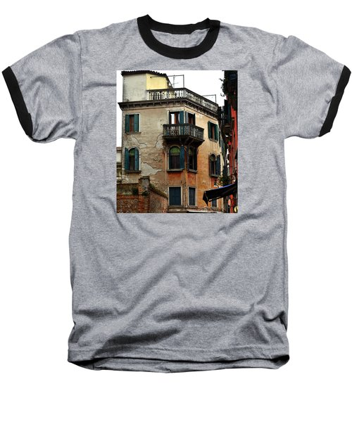 Street Scene Venician Shutters Baseball T-Shirt by Richard Ortolano