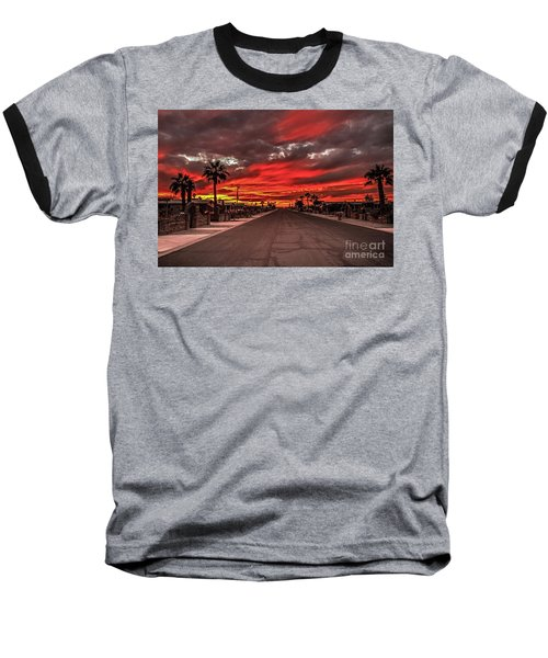 Baseball T-Shirt featuring the photograph Street Sunset by Robert Bales