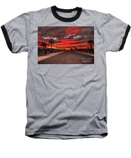 Street Sunset Baseball T-Shirt by Robert Bales