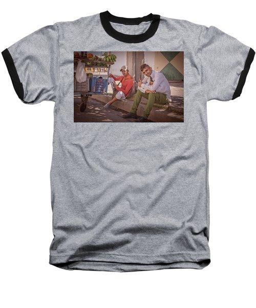 Baseball T-Shirt featuring the photograph Street Vendors In Cienfuegos Cuba by Joan Carroll