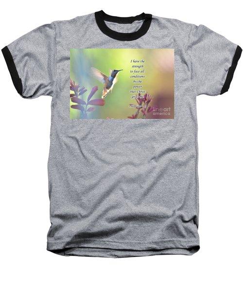 Strength Through Christ Baseball T-Shirt by Debby Pueschel