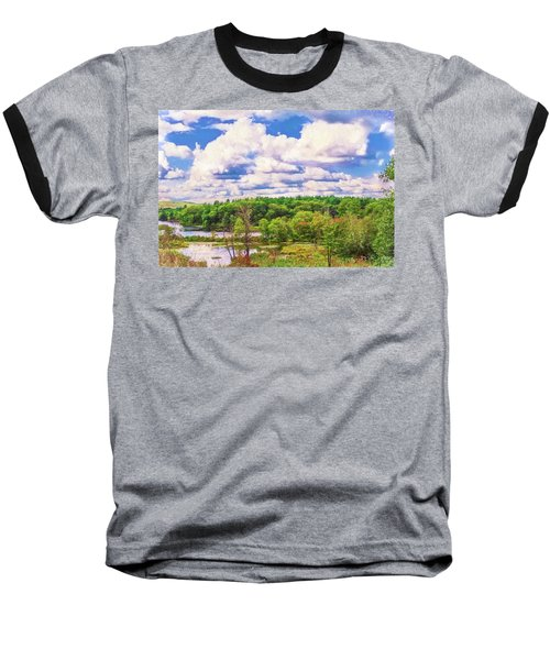 Striking Clouds Above Small Water Inlet And Green Trees Baseball T-Shirt