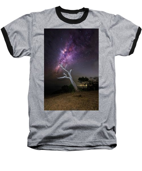 Striking Milkyway Over A Lone Tree Baseball T-Shirt