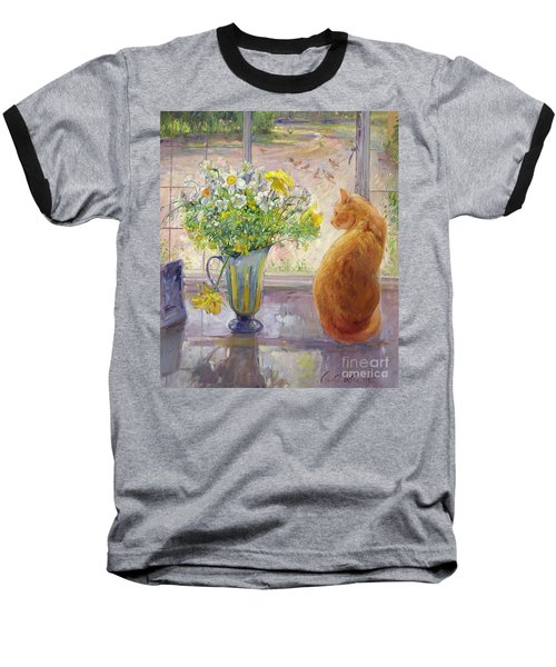 Striped Jug With Spring Flowers Baseball T-Shirt by Timothy Easton