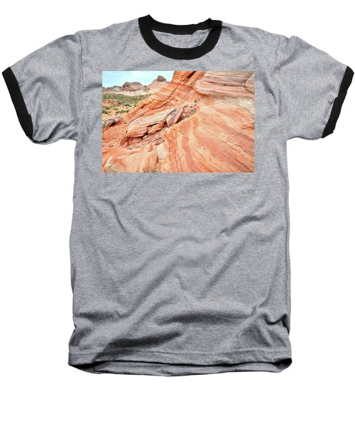 Baseball T-Shirt featuring the photograph Striped Sandstone Along Park Road In Valley Of Fire by Ray Mathis
