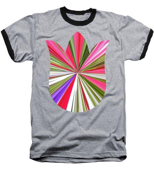 Striped Tulip Baseball T-Shirt by Marian Bell