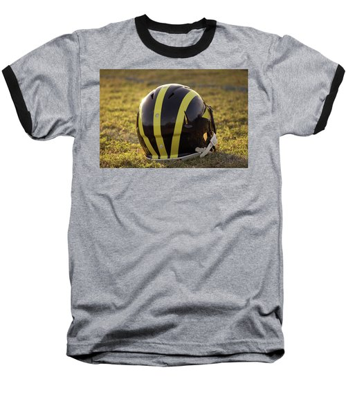 Striped Wolverine Helmet On The Field At Dawn Baseball T-Shirt