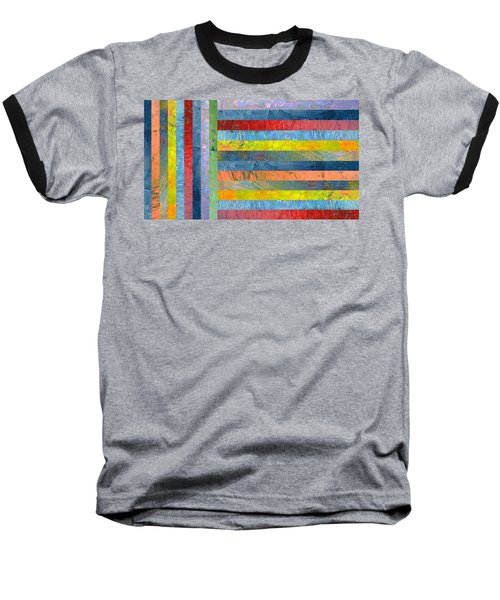 Stripes With Blue And Red Baseball T-Shirt by Michelle Calkins