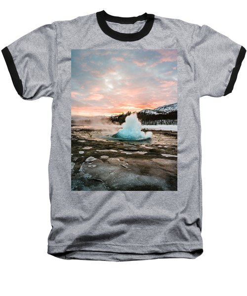 Strokkur Winter Blowup In Front Of Sunset Baseball T-Shirt