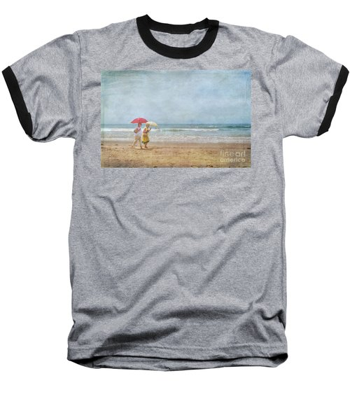 Baseball T-Shirt featuring the photograph Strolling On The Beach by David Zanzinger