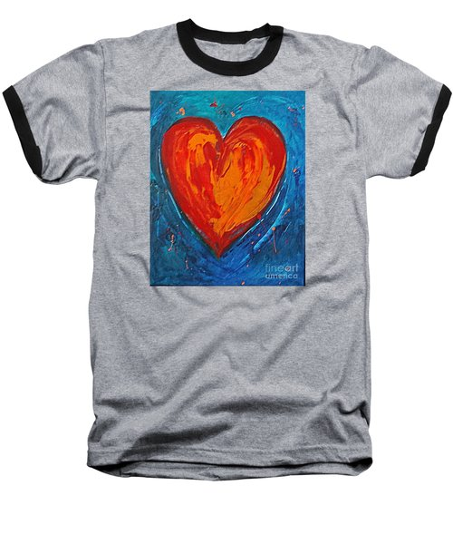 Baseball T-Shirt featuring the painting Strong Heart by Diana Bursztein