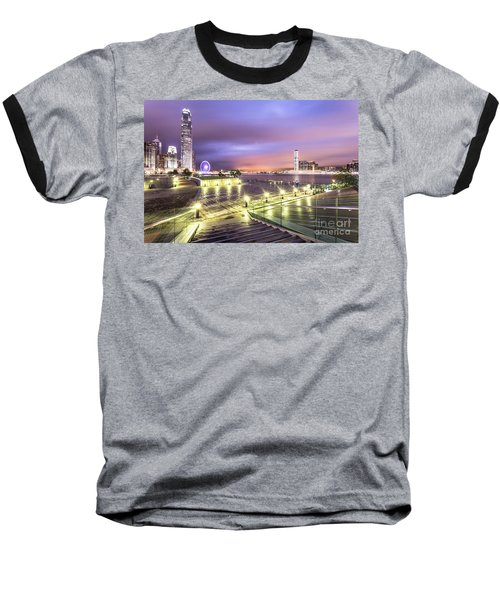Stunning Night View Of The Famous Hong Kong Island Skyline And V Baseball T-Shirt