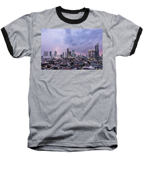 Stunning Sunset Over Jakarta, Indonesia Capital City Baseball T-Shirt