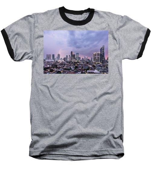 Stunning Sunset Over Jakarta, Indonesia Capital City Baseball T-Shirt