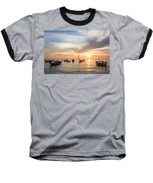 Stunning Sunset Over Wooden Boats In Koh Lanta In Thailand Baseball T-Shirt