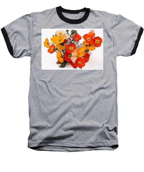 Stunning Vibrant Yellow Orange Poppies  Baseball T-Shirt