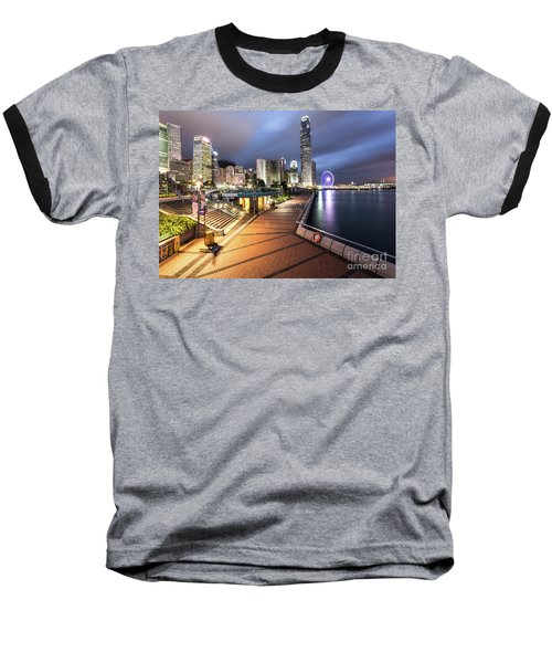 Stunning View Of Hong Kong Central Business District Skyscrapers Baseball T-Shirt