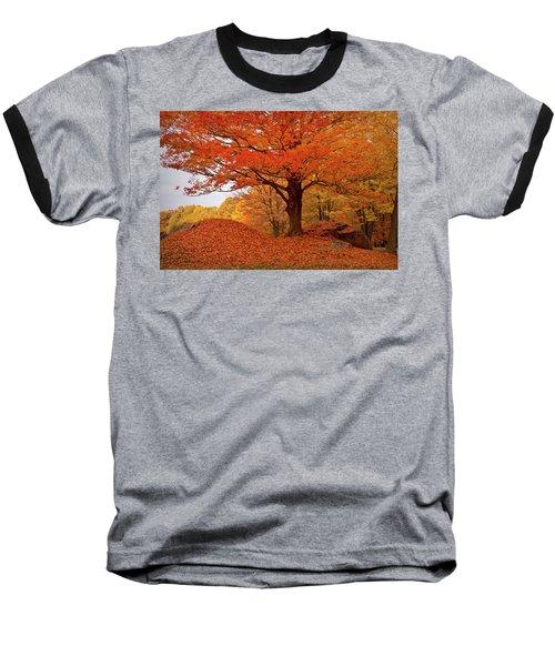 Sturdy Maple In Autumn Orange Baseball T-Shirt