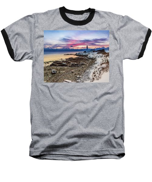 Subtle Sunrise At Portland Head Light Baseball T-Shirt