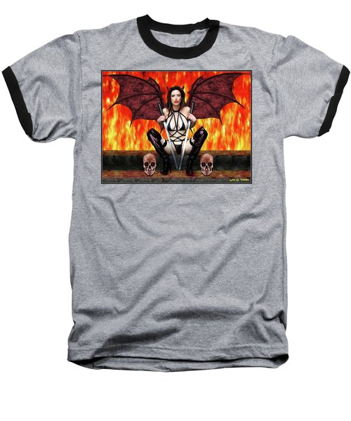 Succubus And Flames Baseball T-Shirt