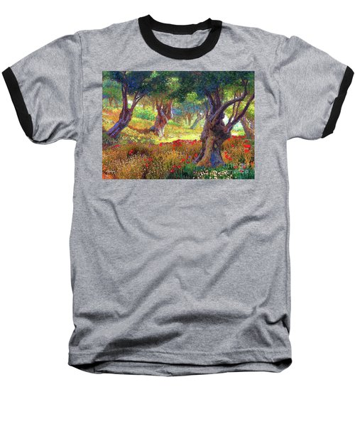 Baseball T-Shirt featuring the painting Tranquil Grove Of Poppies And Olive Trees by Jane Small