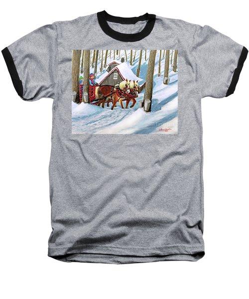 Sugar Bush Sleigh Ride Randonne En Traneau Sucre Baseball T-Shirt by Patricia L Davidson