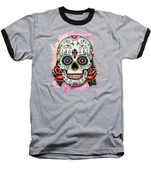 Sugar Skull Baseball T-Shirt by Maria Arango