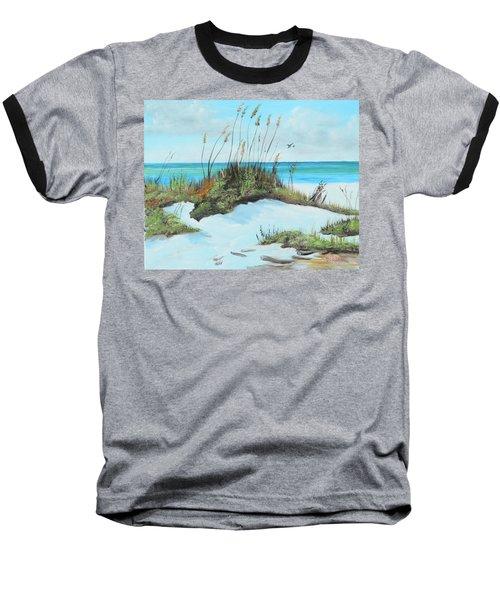 Sugar White Beach Baseball T-Shirt by Lloyd Dobson